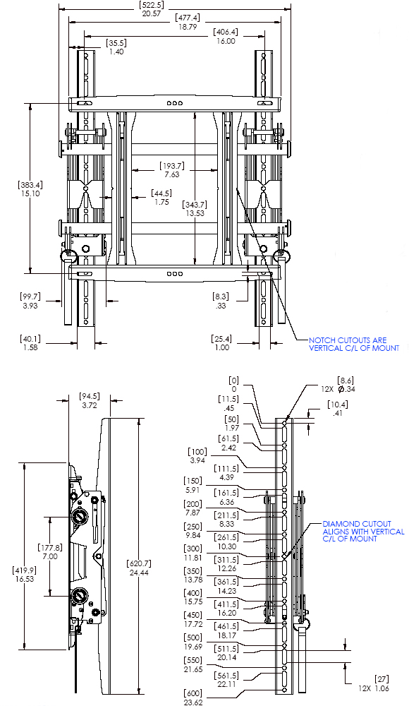 Technical Drawing for Chief MSMVPU Medium Micro-Adjustable Portrait Pull-Out Mount