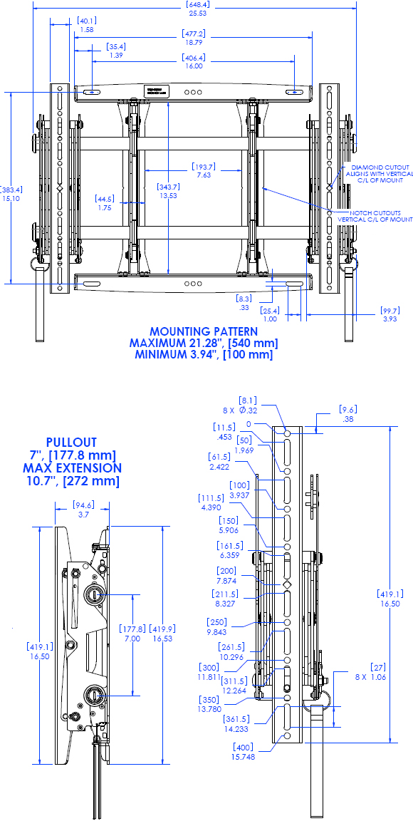 Technical Drawing for Chief MSMVU FUSION Pull-Out Video Wall Mount