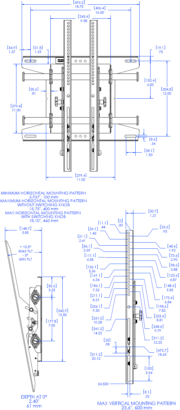 Technical Drawing for Chief MTAPU FUSION Portrait Tilt Video Wall Mount