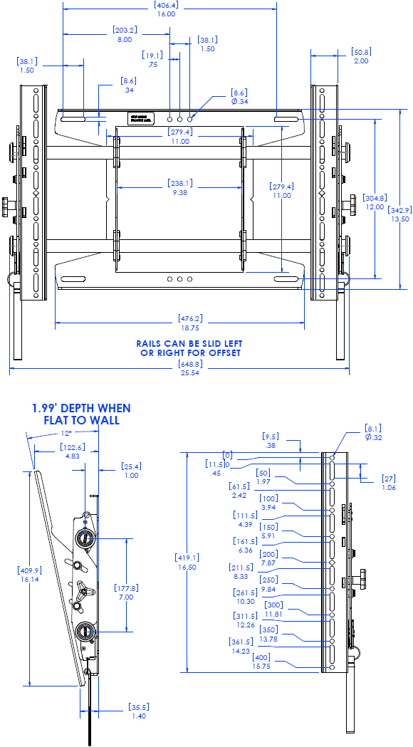 Technical Drawing for Chief MTAU FUSION Flat Panel Tilt Video Wall Mount