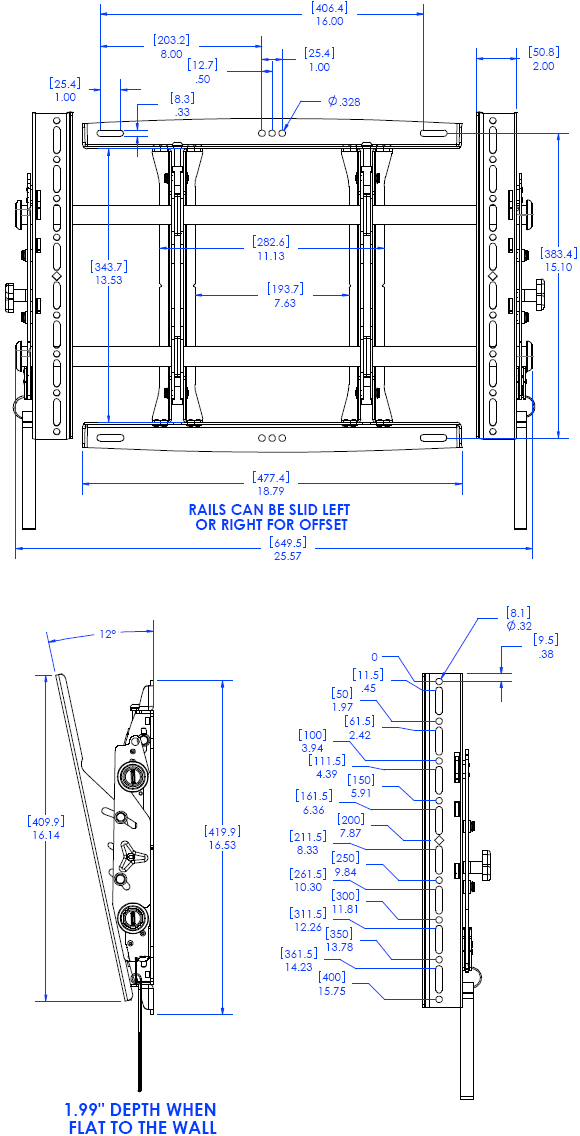 Technical Drawing for Chief MTMU FUSION Adjustable Tile Video Wall Mount