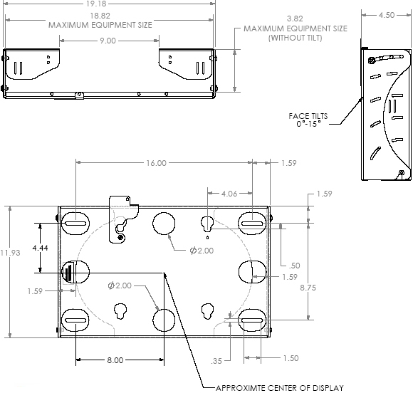 "Technical Drawing for Chief MWCU Tilt Wall Mount with CPU Storage for 26"" to 55"" Flat Panel Displays"