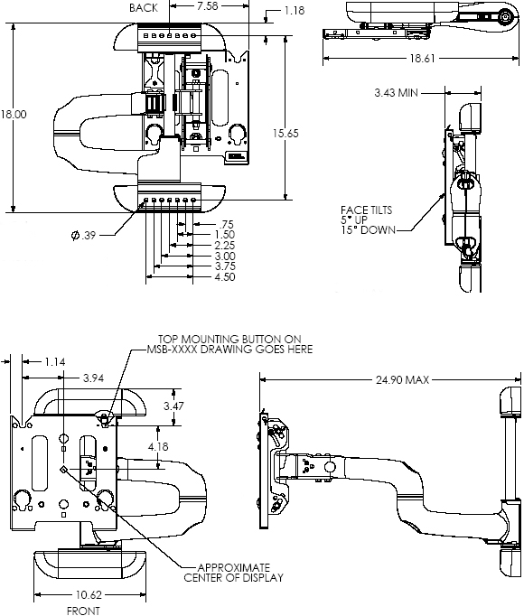 "Technical Drawing for Chief MWHUS or MWHUB Flat Panel Swing Arm Wall Mount up to 42"" Displays"