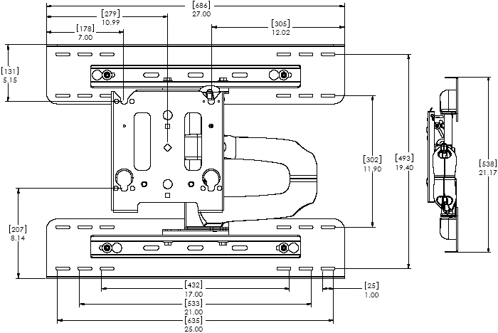 "Technical Drawing for Chief MWRSKUB Flat Panel Steel Stud Swing Arm Wall Mount for 30"" to 50"" Displays"