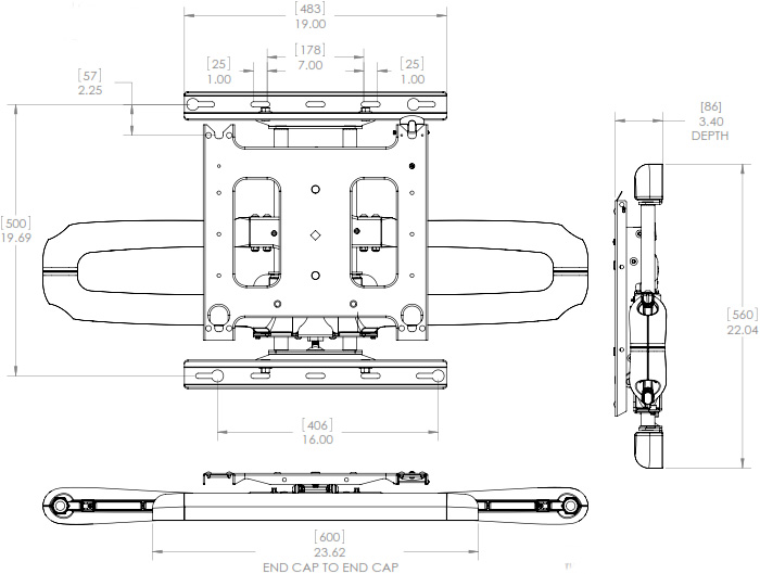 Technical Drawing of Chief PDR-2000 Large Swing Arm Wall Mount