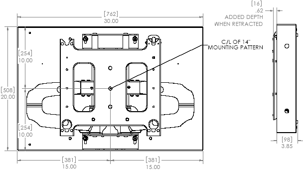 Technical Drawing of Chief PNRIW-2000 Large Low Profile In-Wall Swing Arm Mount