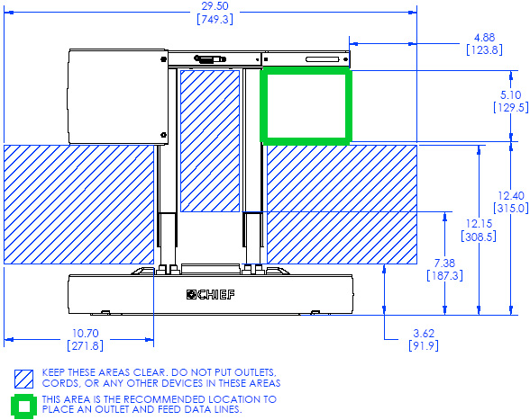Technical Drawing for Chief PXRUB Automated Swing Arm Wall Mount