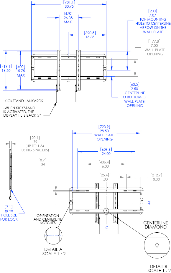 "Technical Drawing for Chief RLF2 Low-Profile Fixed Wall Mount (32""-52"" Displays)"