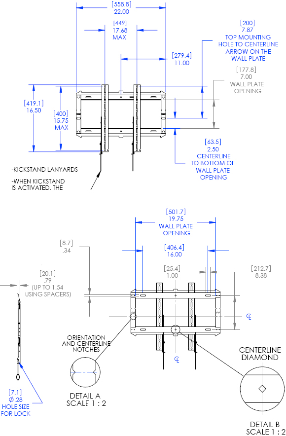 "Technical Drawing for Chief RMF2 Low-Profile Fixed Wall Mount (26""-42"" Displays)"