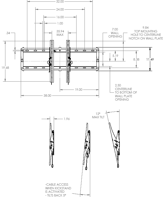 "Technical Drawing for Chief RXT2 Low Profile Hinge Tilt Wall Mount for 40"" to 63"" Displays"