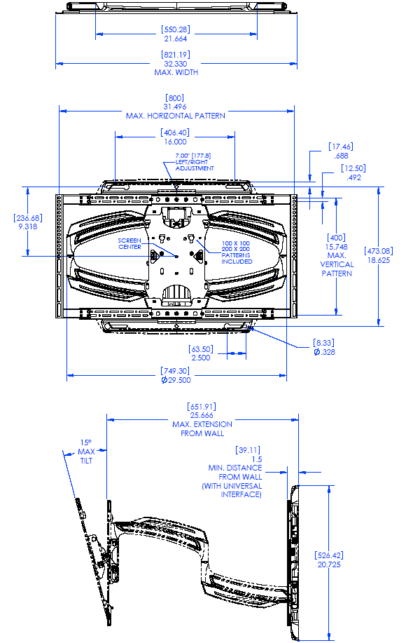 "Technical Drawing for Chief TS525TU Thin stall, Light Weight, Full Swing Wall Mount Arm for 37"" to 58"" Displays"