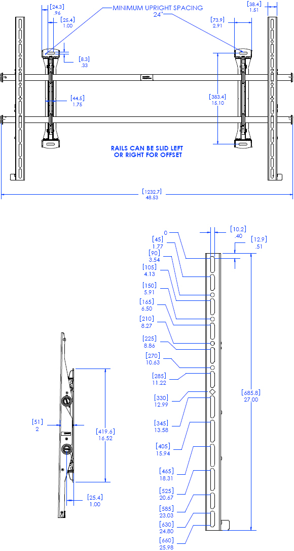 Technical Drawing for Chief XSMU FUSION Adjustable Fixed Video Wall Mount