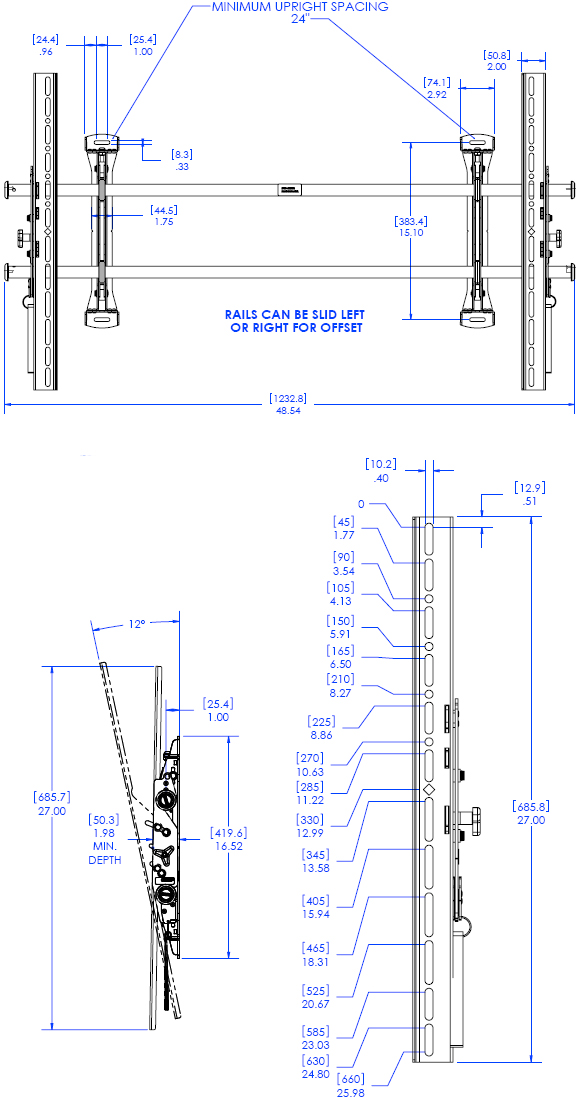 Technical Drawing for Chief XTMU FUSION Adjustable Tilt Video Wall Mount