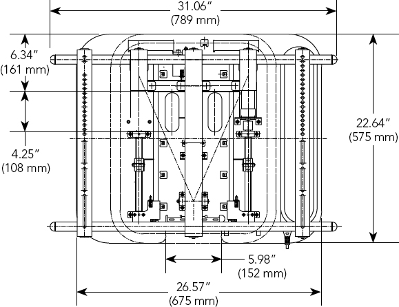 Technical Drawing for Chief CM7W12U Flat Panel Universal Automated Swing Arm Mount
