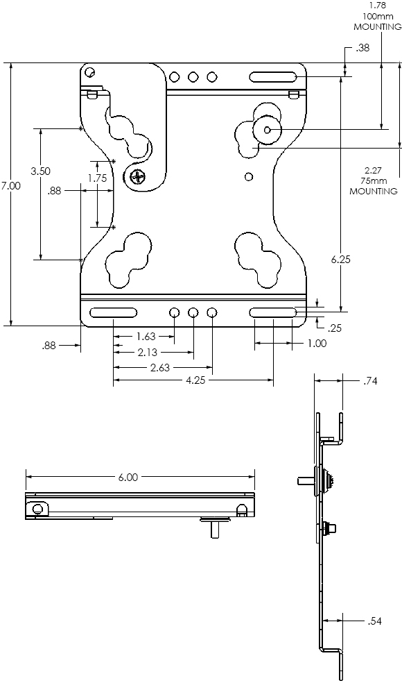 Technical Drawing for Chief FSRV Fixed Wall Mount for 10 to 32 inch Displays