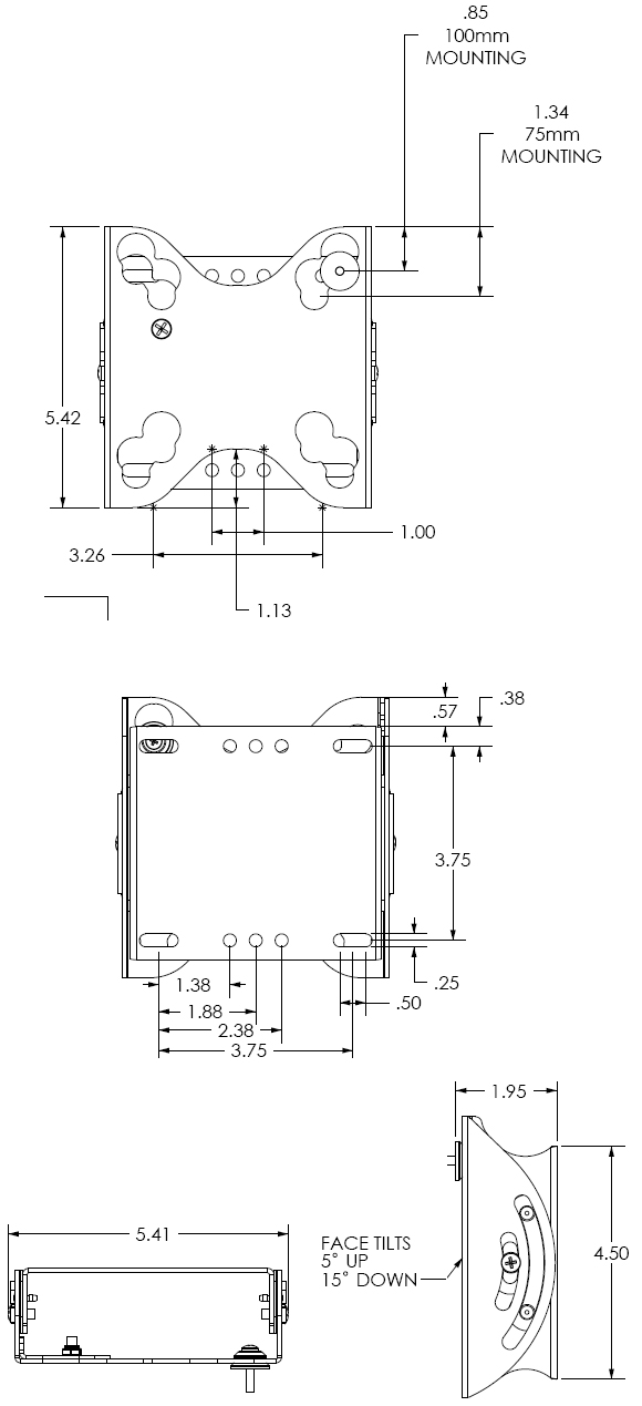 Technical Drawing for Chief FTRV Tilt Wall Mount for 10 to 32 inch Displays