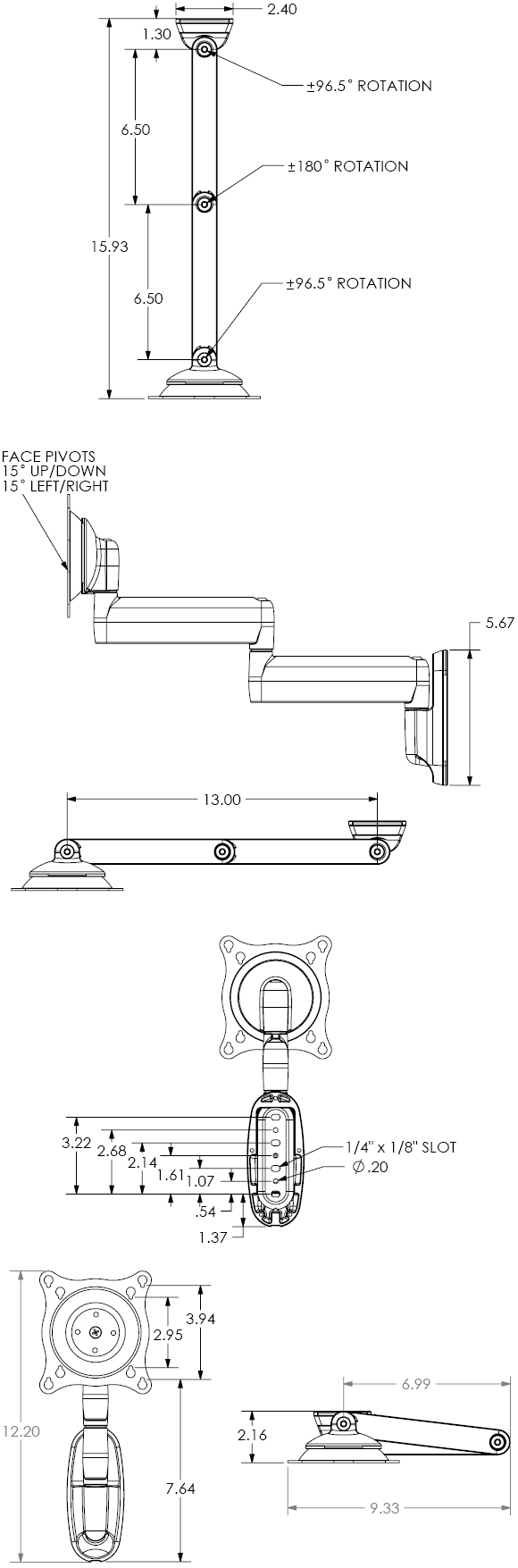 Technical Drawing for Chief FWD Wall Mount Flat Panel Dual Swing LCD Arm