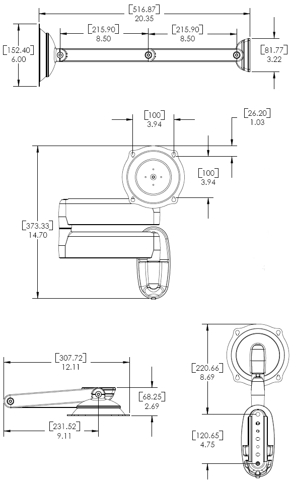 Technical Drawing for Chief JWDVB Wall Mount Flat Panel Dual Swing LCD Arm
