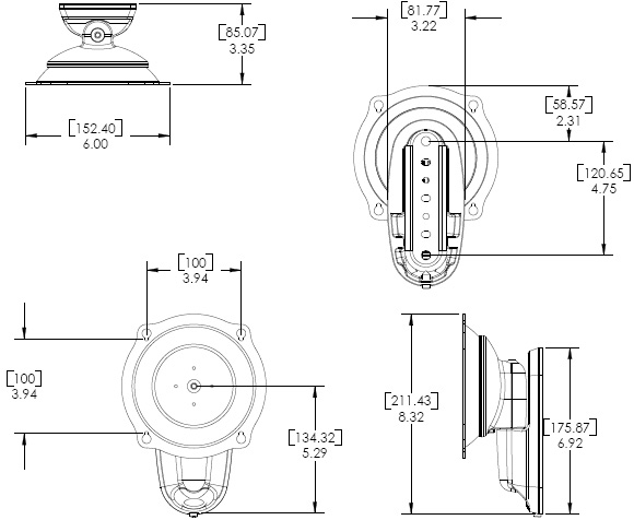 Technical Drawing for Chief JWPVB or JWPVS Flat Panel Pivot or Tilt Wall Mount