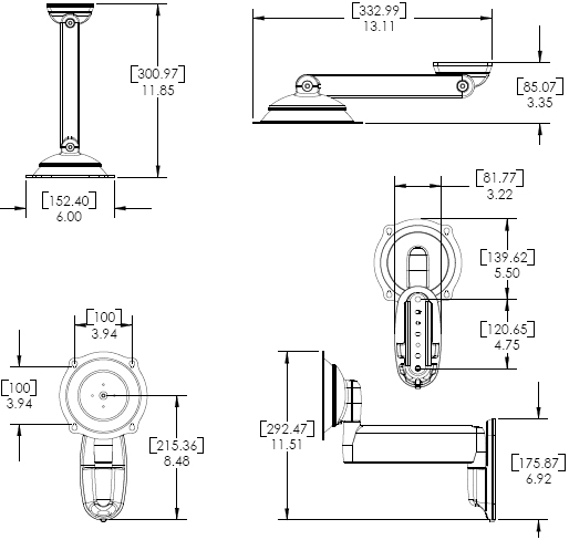 Technical Drawing for Chief JWS210 Wall Mount Flat Panel Single Swing LCD Arm