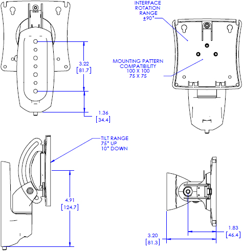 Technical drawing for Chief K0W100 Kontour K0 Wall Mount with Extreme Tilt Pitch/Pivot