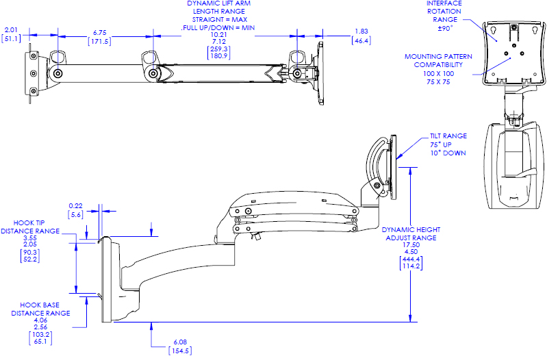 Technical drawing for Chief K1S120 Kontour K1S Dynamic Slat-Wall Mount, 1 Monitor