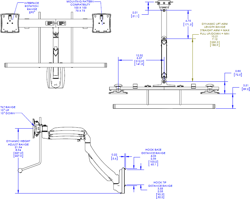 Technical drawing for Chief K1S22H Kontour Dynamic Slat-Wall Mount, Dual Monitor Array