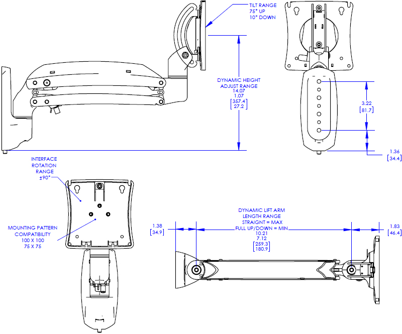 Technical drawing for Chief K1W110 Kontour Dynamic Wall Mount, 1 Monitor