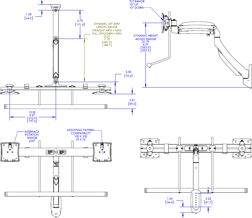 Technical drawing for chief K1W22H Kontour Dynamic Wall Mount, Dual Array