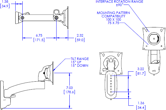 Technical drawing for Chief K2W110 Kontour K2W Wall Mount Swing Arm