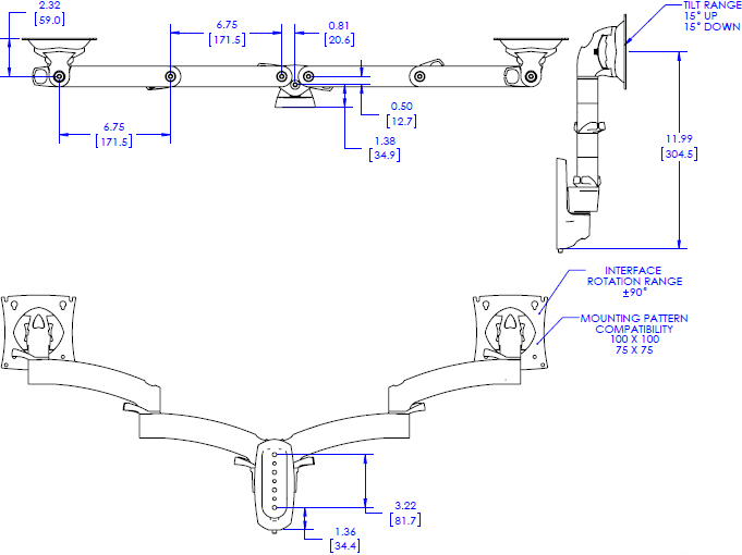 Technical drawing for Chief K2W220 Kontour Wall Mount Swing Arm, 2 Monitors
