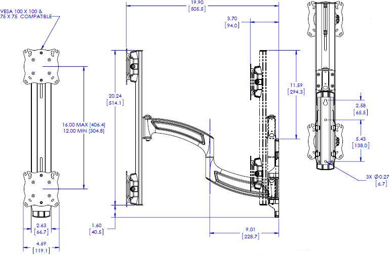 Technical drawing for Chief K4W120B KONTOUR K4 1x2 Vertical Wall Mounted Array