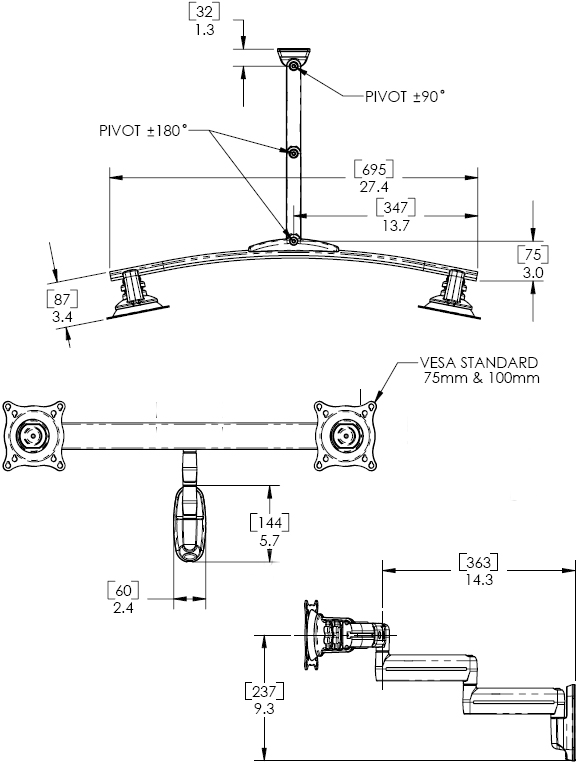 Technical Drawing for Chief KWD220B or KWD220S Wall Mount Flat Panel Dual Horizontal Monitor LCD Arm