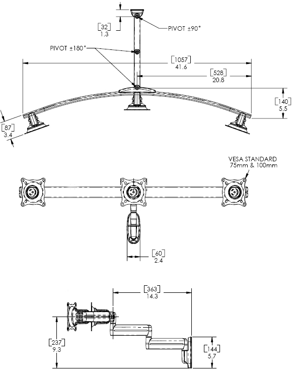 Technical Drawing of Chief KWD320B or KWD320S Wall Mount Flat Panel Triple Monitor Swing LCD Arm