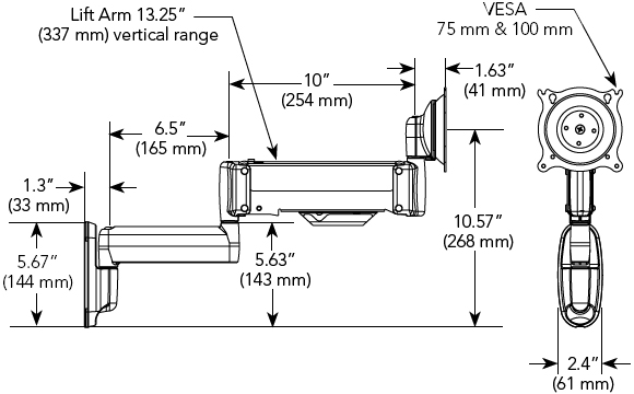 Technical Drawing of Chief KWG110B or KWG110S Wall Mount Height Adjustable Single Monitor Dual LCD Arm