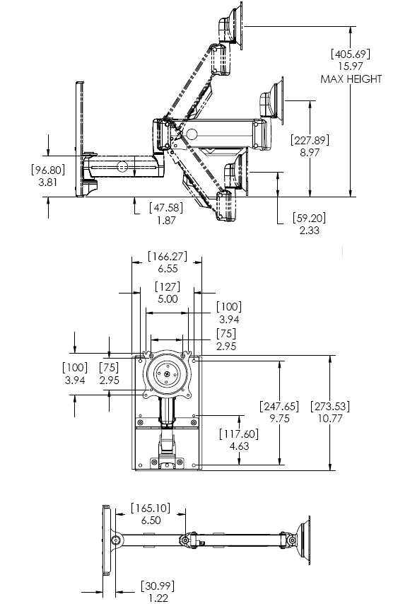 Technical Drawing for Chief KWGSK110 Wall Mount Height Adjustable Steel Stud Monitor Arm