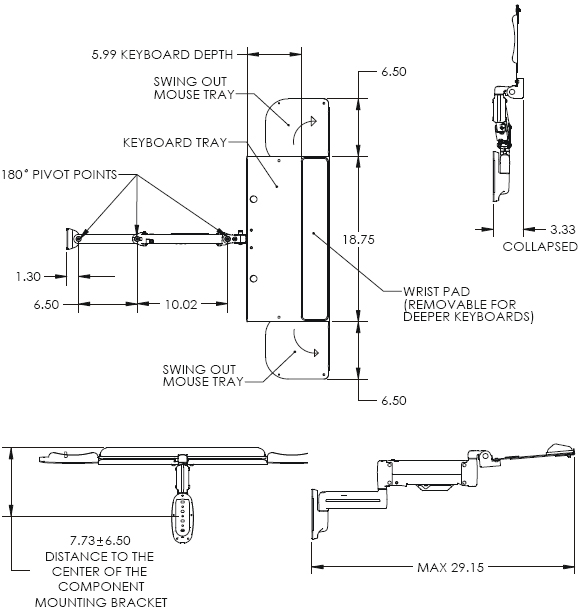 Technical drawing of Chief KWK110B Height Adjustable Keyboard Wall Mount