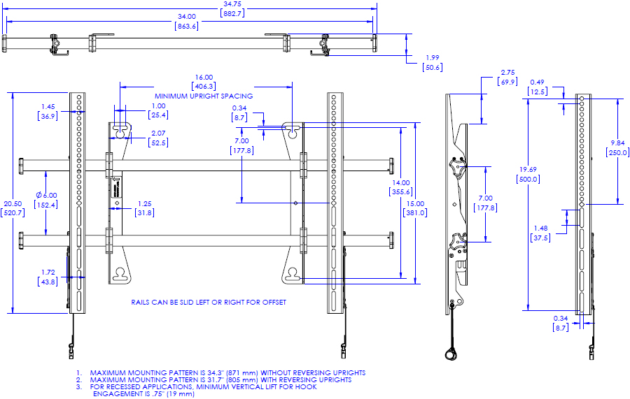 Technical drawing for Chief LSA1U Large Fusion Fixed Wall Display Mount
