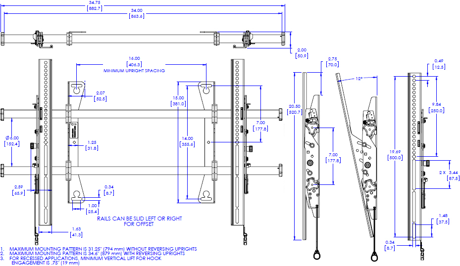 Technical drawing for Chief LTA1U Large Fusion Tilt Wall Mount