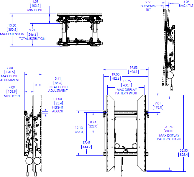 Technical drawing for Chief LVS1UP Video Wall Portrait Mounting System with Rails