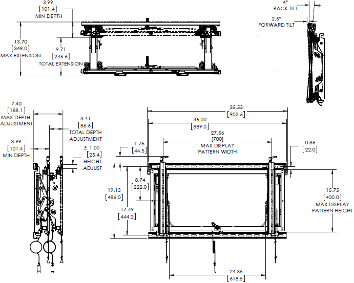 Technical drawing for Chief LVSXU Video Wall Landscape Mounting System without Rails