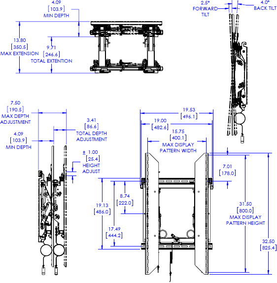 Technical drawing for Chief LVSXUP Video Wall Portrait Mounting System without Rails