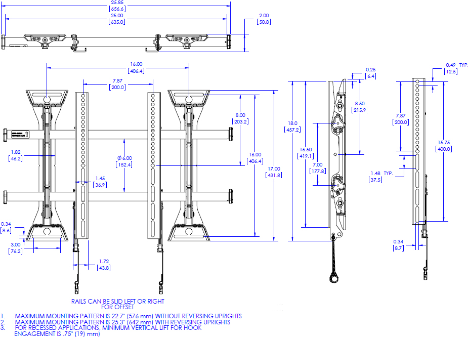 Technical drawing for Chief MSM1U Fusion Micro-Adjustable Fixed Wall Mount