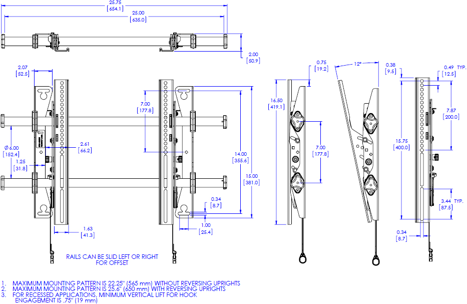 Technical drawing for Chief MTA1U Medium Fusion Tilt Wall Mount