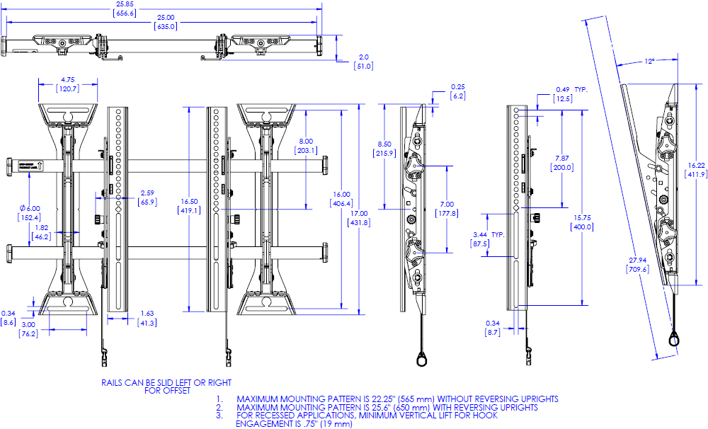 Technical drawing for Chief MTM1U Medium Fusion Micro-Adjustable Tilt Wall Mount