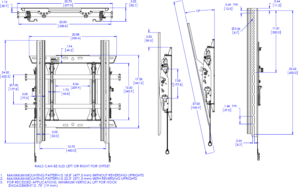 Technical drawing for Chief MTMP1U Medium Fusion Portrait Tilt Wall Mount