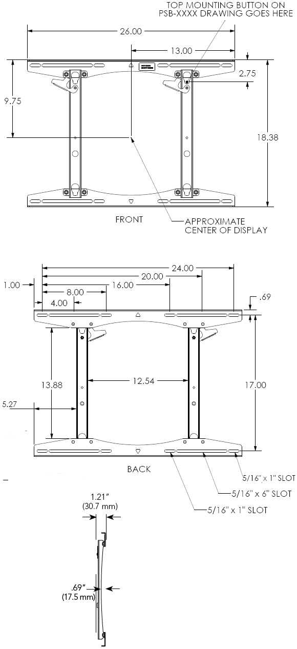 Technical Drawing for Chief PSTU Fixed Wall Mount for Large Flat Panel Screens