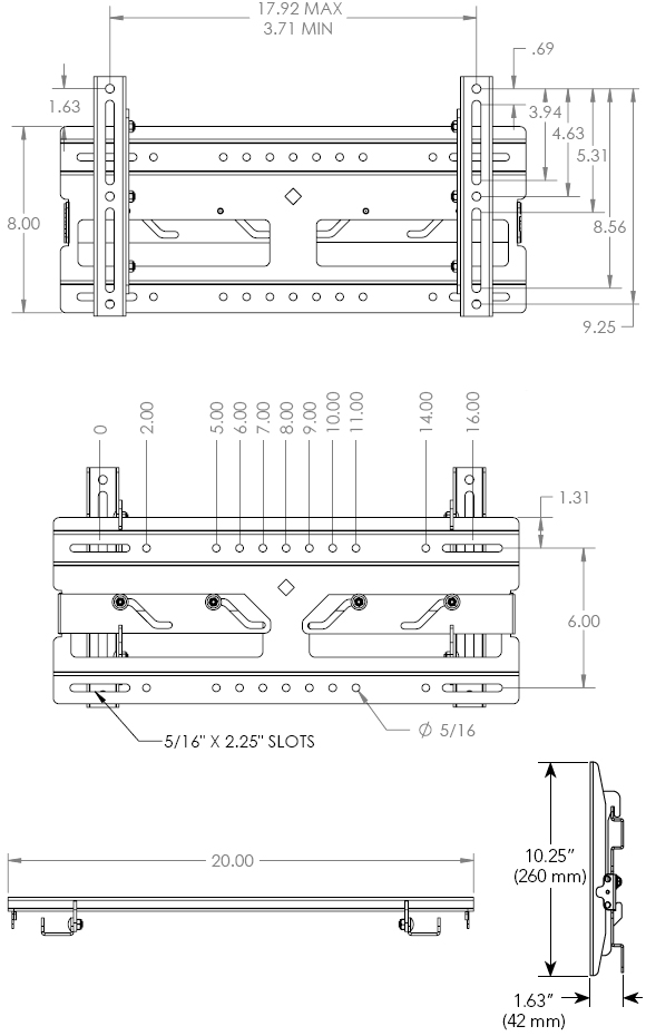 Technical Drawing for Chief RMF1 Medium Flat Panel Universal Fixed Wall Mount