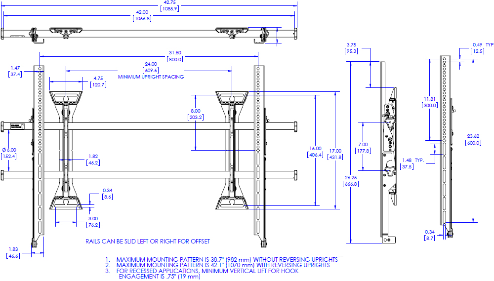 Technical drawing for Chief XSM1U Fusion Micro-Adjustable Fixed Wall Mount