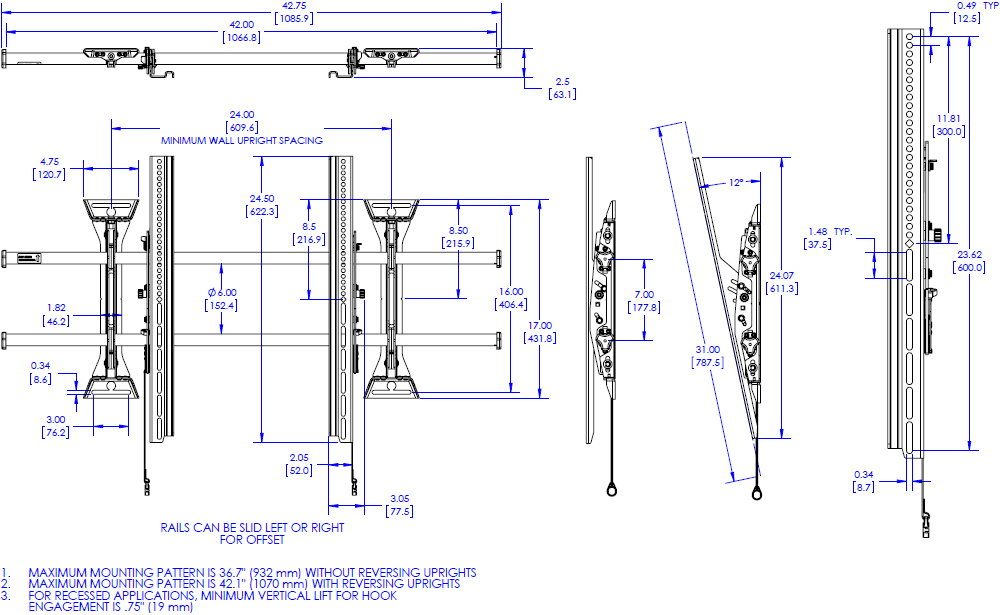 Technical drawing for Chief XTM1U X-Large Fusion Micro-Adjustable Tilt Wall Mount